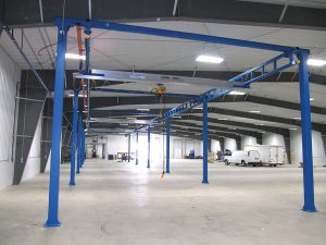 Large expanse work station crane industrial warehouse