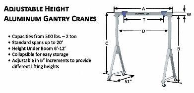 fixed height adjustable aluminium aluminum gantry crane diagram