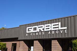 Gorbel Head Office Sign Above Entrance crane