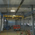 acculift Cranes in position prior to load testing. Installation and design of lifting systems for new buildings.