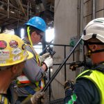 fall arrest training for extreme heights tower jib crane inspection