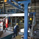 building crane over production line column header rail bridge
