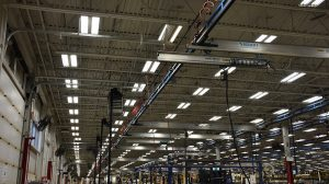Stellar example of a manufacturer with acculift cranes overhead.
