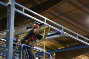 acculift install bridge festooning installation for moving a crane system for over a brake metal