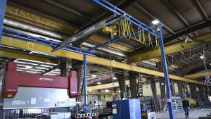 sheet metal moving acculift crane relocated moved workstation crane bender router cnc