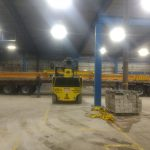 heavy duty forklift moving large acculift crane beam/headers runway