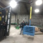 heavy duty forklift moving load test weights acculift of a building crane