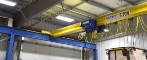 acculift Bridge and hoist and stooled down girder to mazimize crane coverage and vertical lifting area