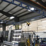 overhead workstation crane solution for maximum floor coverage - acculift solutions